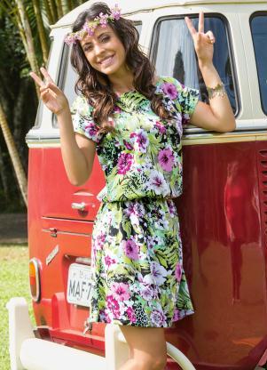 Vestido Floral Manga Curta