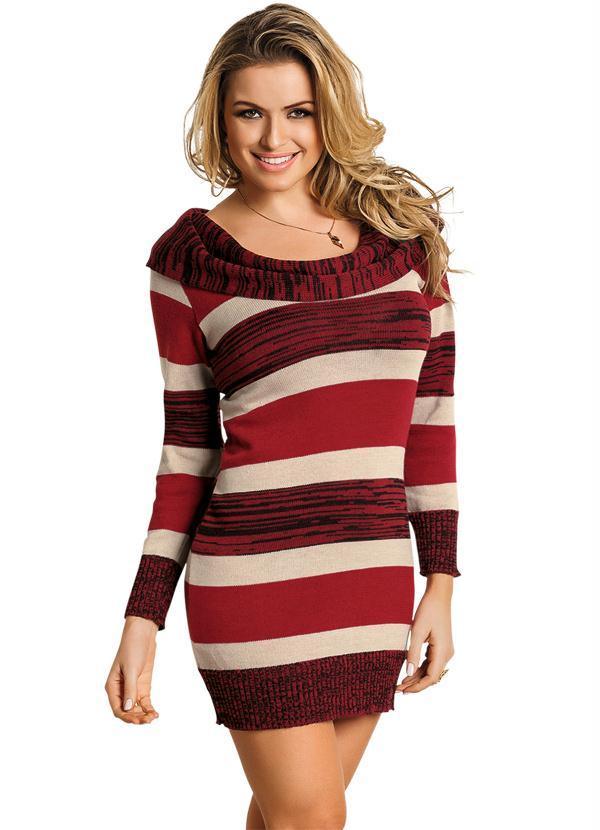 9a4ac0e5d4d3 Janine - Vestido de Lã Manga Longa Listrado Vermelho - Multimarcas