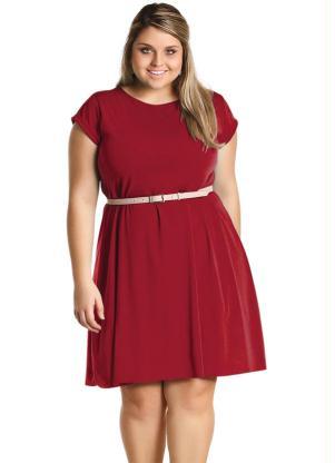 Vestido Liso Plus Size Bordô