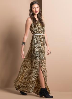 Vestido Longo Com Fenda Animal Print