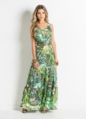 Vestido Longo Com Franzidos Tropical