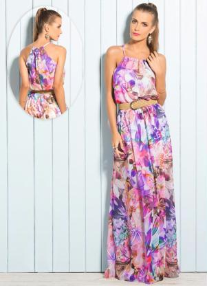 Vestido Longo Com Transparência Flores