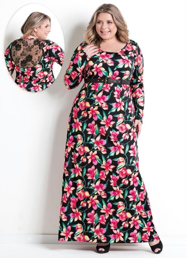 600ad88f929a Marguerite - Vestido Longo Decote Redondo Floral Plus Size - Marguerite