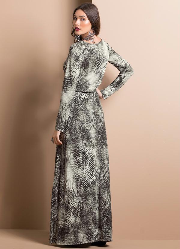 Vestido longo com estampa de cobra
