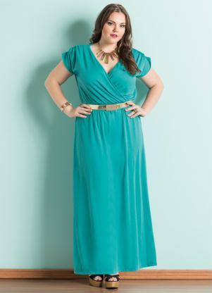Vestido Longo Decote V Turquesa Plus Size