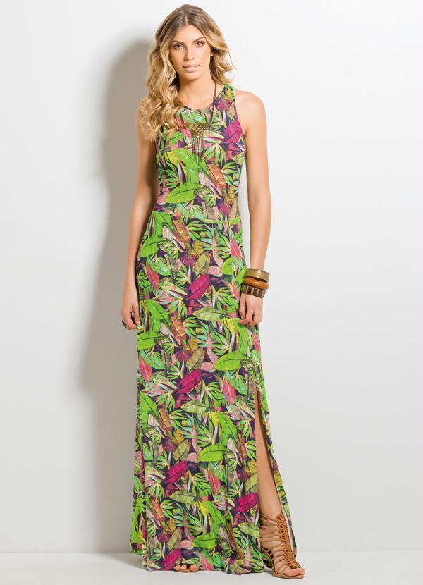 c7956f532 Quintess - Vestido Longo Fenda Tropical - Quintess