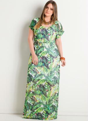 Vestido Longo (Folhagens) Plus Size