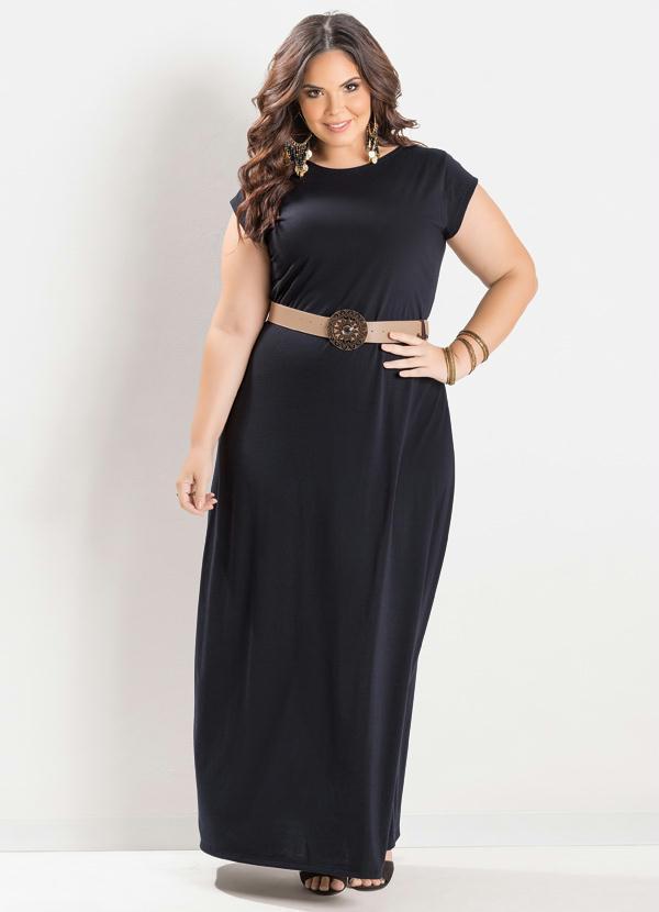 Preferência Vestido Longo Preto Plus Size - Marguerite YV07