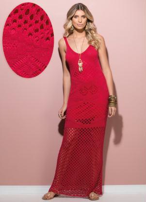 Vestido Longo Tricô Vermelho