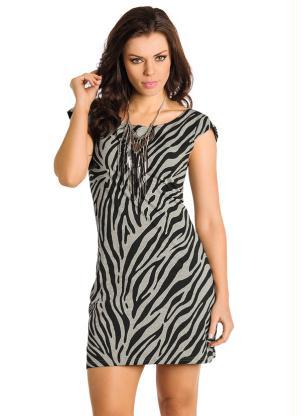 Vestido Manga Curta Estampa Zebra