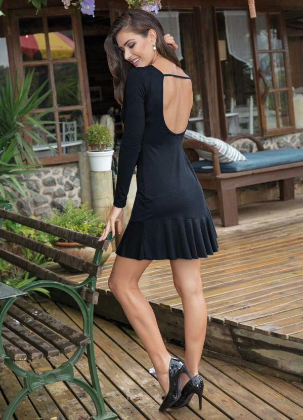 Vestido manga longa preto para altas