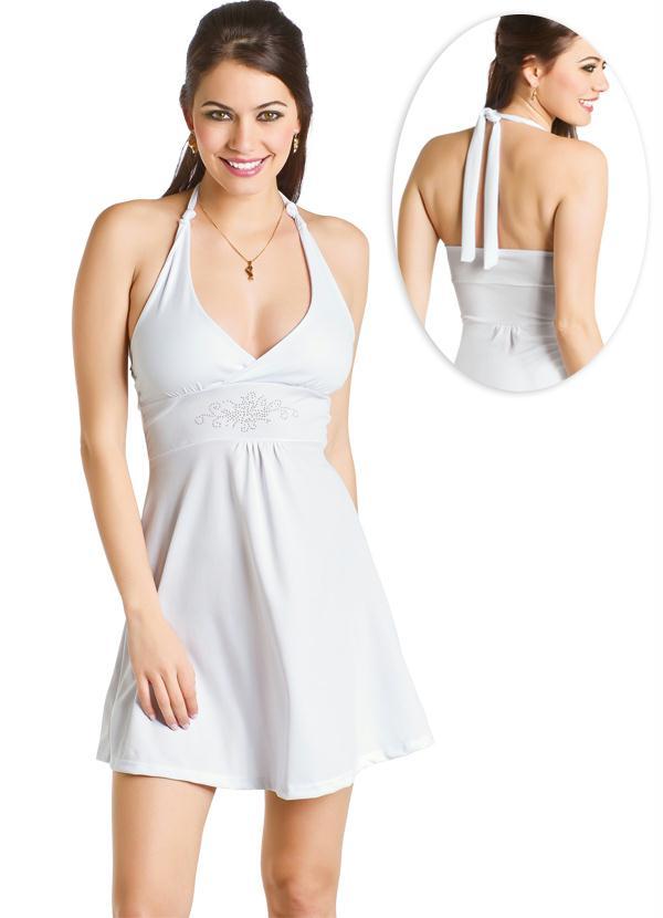 86a259390 Queima estoque - Vestido de Festa Frente Única Branco - Queima de ...