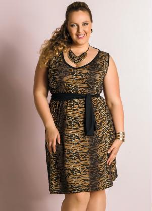 Vestido Plus Size Estampa Tigre