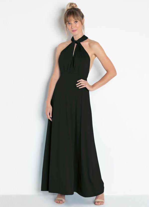 af94f5257 bonprix - Vestido Longo com Amarração Preta - bonprix