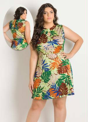 Vestido Sem Mangas Estampa Tropical Plus Size