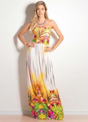 Vestido Tomara Que Caia Longo Tropical