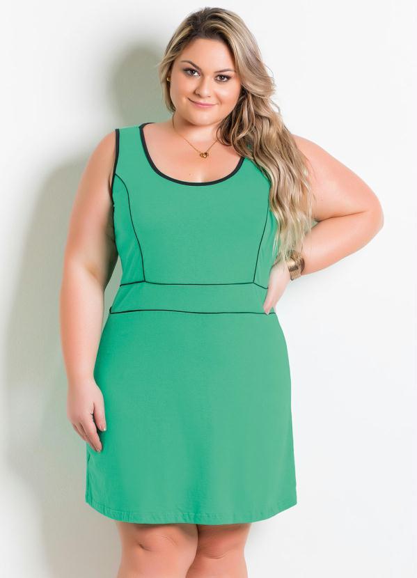 f32581502799 Marguerite - Vestido Verde e Preto Plus Size - Marguerite