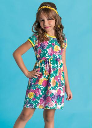 Vestido Infantil Recorte Na Cintura Floral