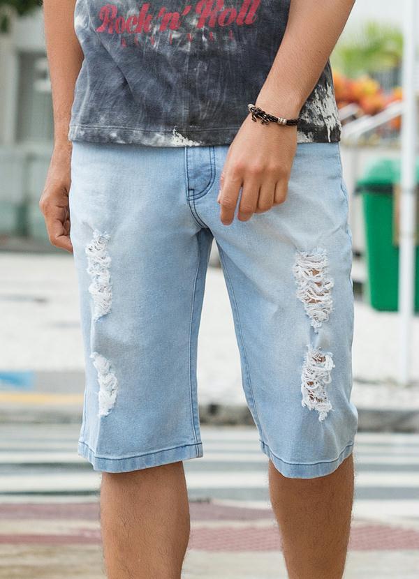 bermuda masculina destroyed jeans claro   posthaus
