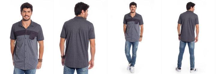 Camisa de Botão com Recorte de Tecido Cinza Bgo