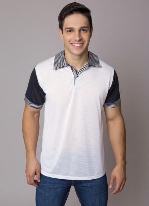 Camisa Polo com Detalhe de Estampa Branca Queima Estoque ed809b843392a
