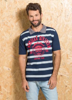 produto Queima de Estoque - Camisa Polo Marinho com Estampa de Listras 70b9fc67feffa