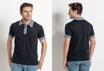 c2366062a7 0.0 Camisa Gola Polo Preta com Recortes em Listras