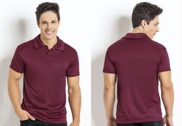 Moda Pop. 0.8388172388076782 Camisa Manga Curta Bordô Gola Polo fcdec184a7f06