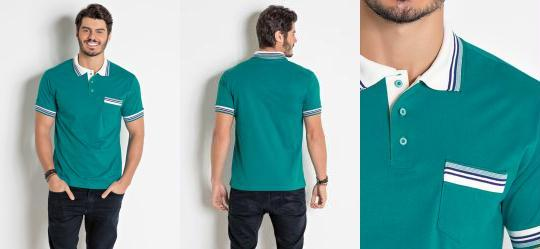 d6362c43b6ae8 0.7429347038269043 Camisa Polo Verde Turquesa com Bolso e Listras