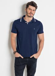Camisa Polo Marinho com Detalhes em Branco