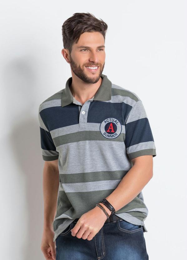 2b53dbd9c8 Actual - Camisa Polo Mescla com Listras Largas - Actual