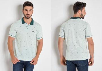 99e197390 0.0 Camisa Polo Verde com Estampa Triângulos Actual