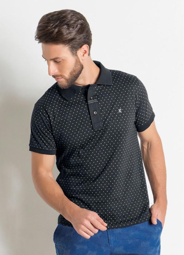 2b4a994838 Actual - Camisa Polo Actual Preta com Estampa de Poá - Actual