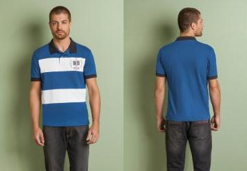 Queima Estoque. 0.0 Camisa Polo Azul e Branca com Listra d81cb5cd81f19