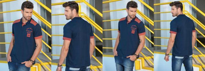 0.0 Camisa Polo Bicolor Marinho e Laranja 7fe501c06b171