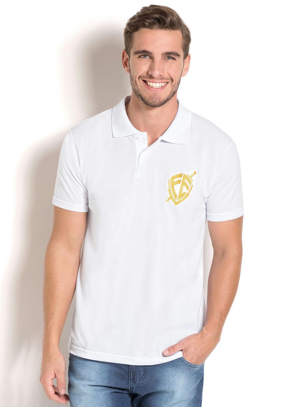 Camisa Polo Branca com Estampa - Queima de Estoque 27cfa310b1efa