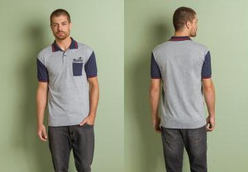 Queima Estoque. 0.0 Camisa Polo Cinza e Marinho 4c3dd92c40cad