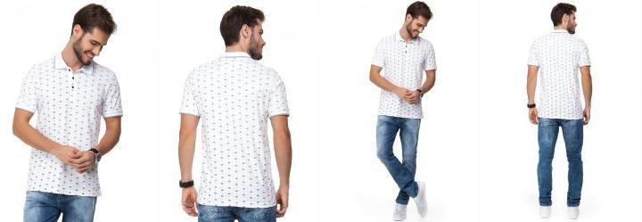 0.0 Camisa Polo com Estampa Paisley Branco Bgo a93a3c41b1494