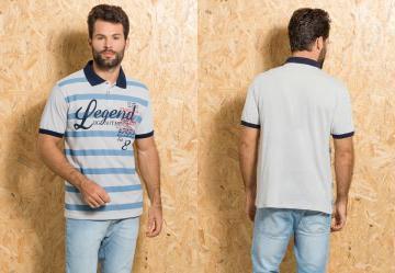 Queima Estoque. 0.0 Camisa Polo Gelo com Estampa de Listra e Escrita a53b901ebddbe