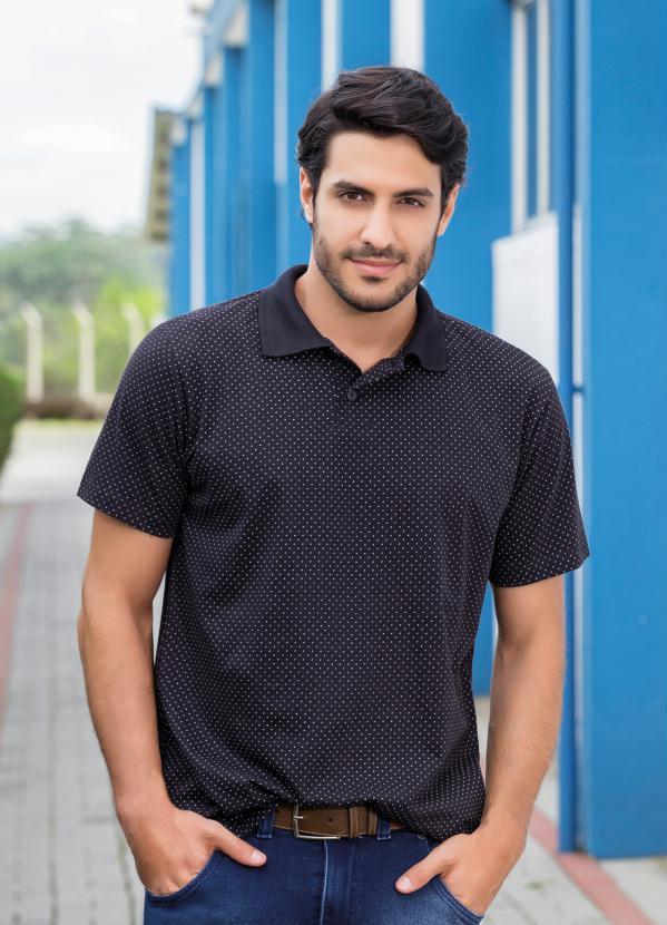 f69a482d01 Moda pop - Camisa Polo Preta com Estampa de Poá - Moda Pop
