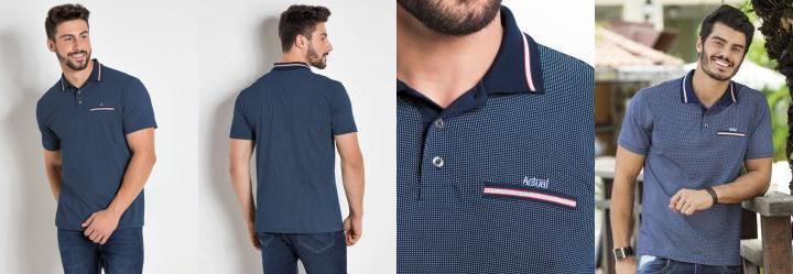 9ba073692 Actual. 0.0 Camisa Polo Estampada com Detalhe Bordado