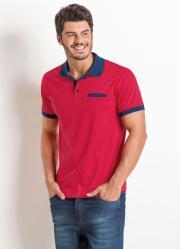 Camisa Polo Vermelha Actual com Detalhe de Bolso