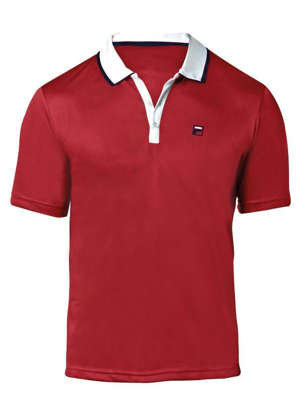 b2ad0ee081 Camisa Polo Fila Aztec Box Vermelha e Branca Veja mais detalhes