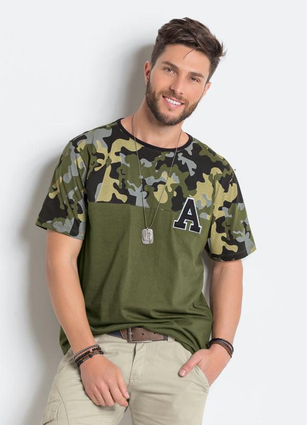 2bc6646425 Enfim - Camiseta Masculina Gola V Spray Verde Enfim - Enfim