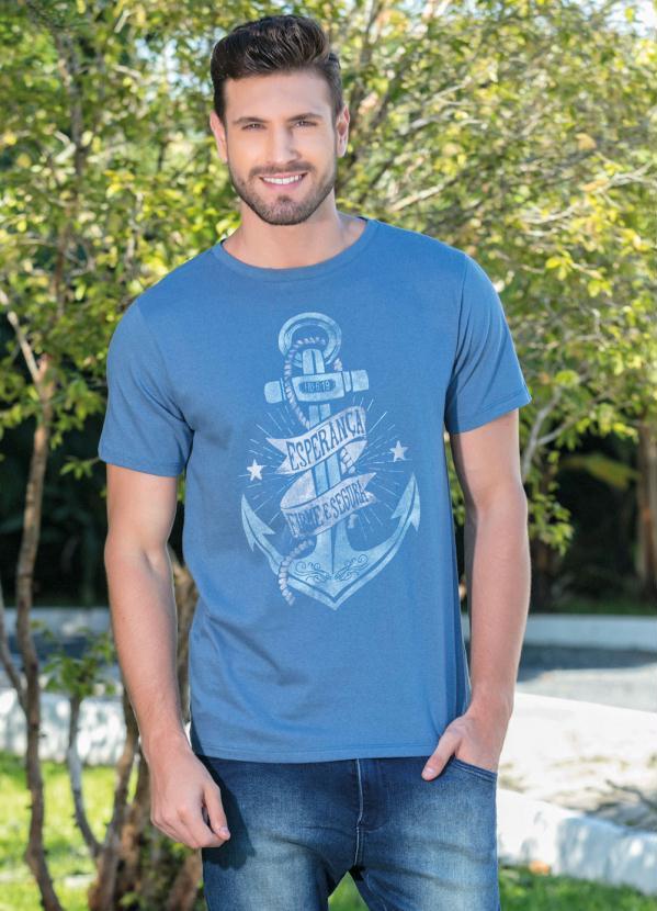 30d1452bad Queima estoque - Camiseta Azul com Estampa de Âncora - Queima de Estoque