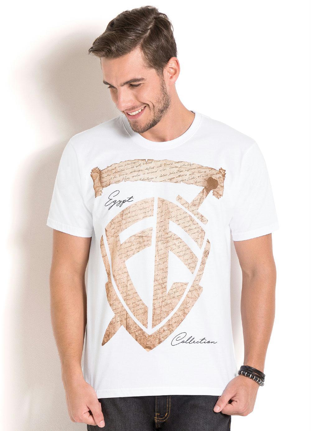 Camiseta Branca com Estampa e Decote Redondo - Queima de Estoque 4b0e77ce37215