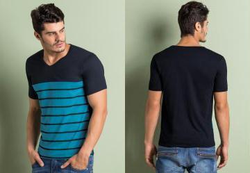 0.6165792346000671 Camiseta Estampa Listrada Preta e Azul a48d0b986c7