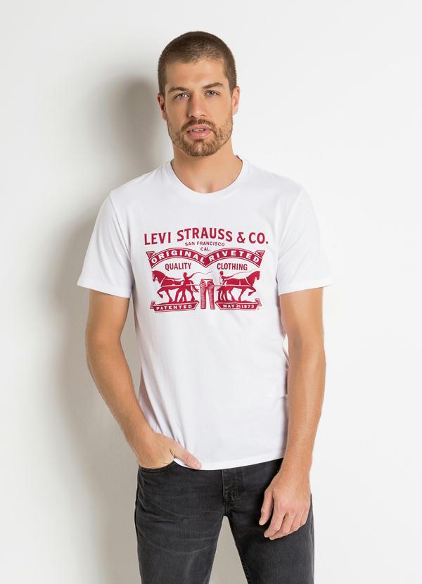 d8ccb5442e021 Camiseta Levis Branca com Estampa Frontal - Multimarcas