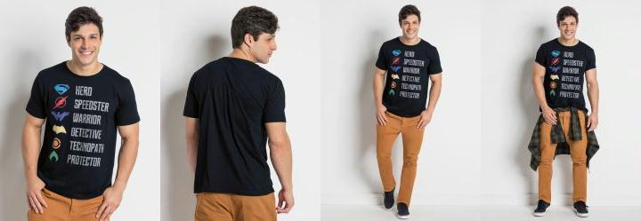 Multimarcas. 0.0 Camiseta Manga Curta Liga da Justiça Preta db47dcee81dfb