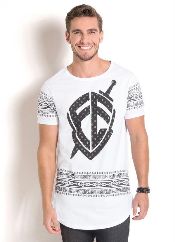 Queima de Estoque - Camiseta Longline Branca Estampa Étnica - Queima ... 4aedbe00c3a35